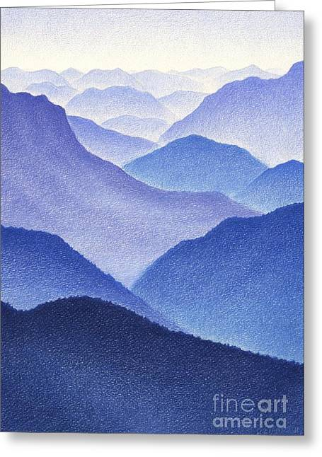 Landscape Drawings Greeting Cards - Mountains Greeting Card by Dirk Dzimirsky