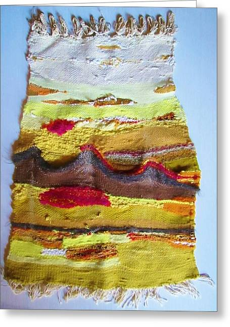 Photograph Tapestries - Textiles Greeting Cards - Mountains in a Weaving  Greeting Card by Martha Nelson