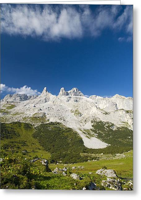 Grey Clouds Greeting Cards - Mountains in the Alps Greeting Card by Chevy Fleet
