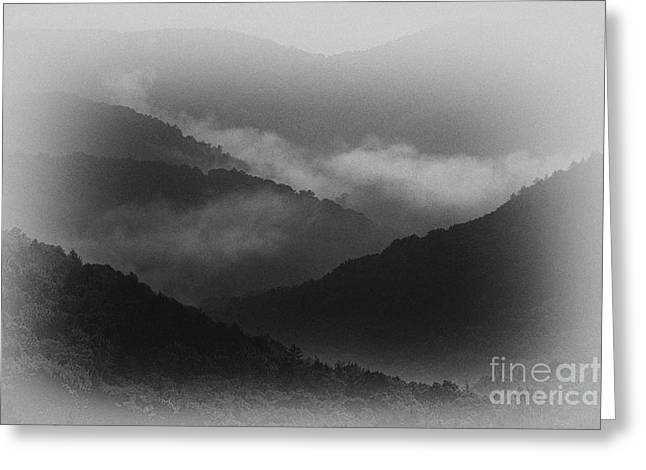 Black 7 White Greeting Cards - Mountains in the Mist Greeting Card by Thomas R Fletcher