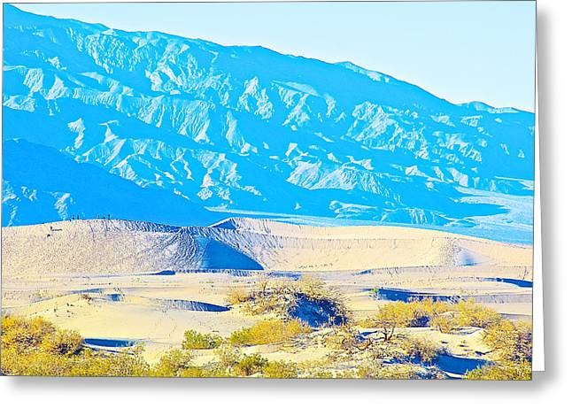 Loom Digital Art Greeting Cards - Mountains Loom over Mesquite Flat Sand Dunes in Death Valley National Park- California  Greeting Card by Ruth Hager