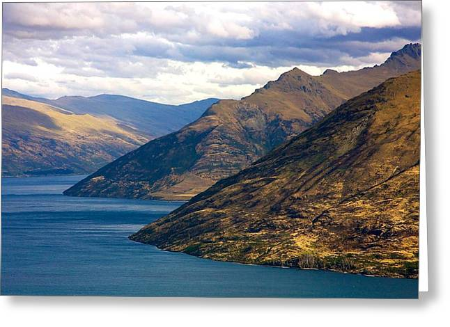 Grey Clouds Greeting Cards - Mountains Meet Lake Greeting Card by Stuart Litoff