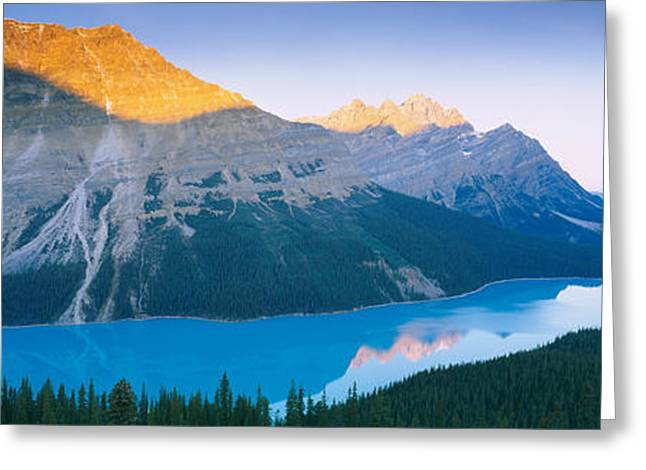 Lake Photography Greeting Cards - Mountains Next To A Lake, Peyto Lake Greeting Card by Panoramic Images