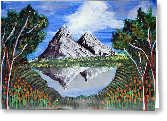 Mountains On A Lake Greeting Card by Saranya Haridasan