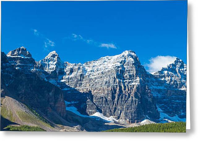 Moraine Greeting Cards - Mountains Over Moraine Lake In Banff Greeting Card by Panoramic Images