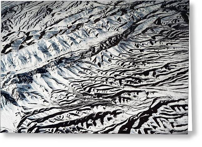Unique View Greeting Cards - Mountains Patterns. Aerial View Greeting Card by Jenny Rainbow
