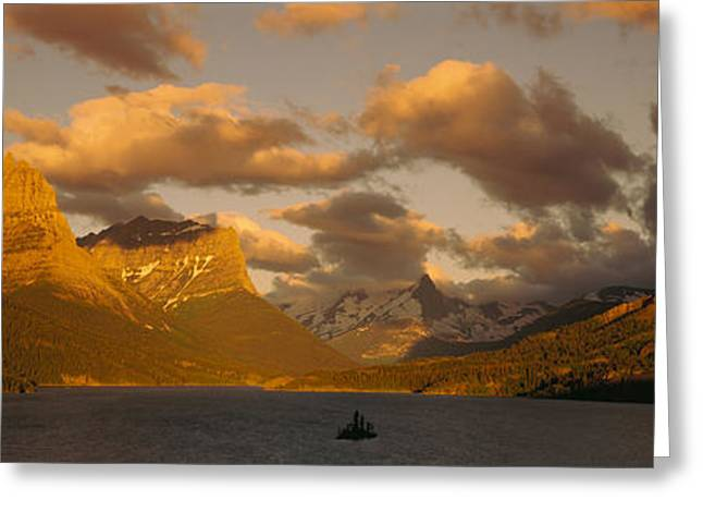 Glacier Bay Greeting Cards - Mountains Surrounding A Lake, St. Mary Greeting Card by Panoramic Images