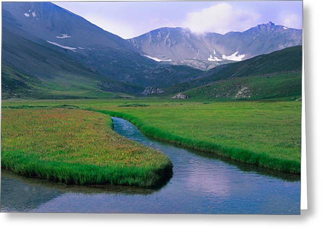 Mountains Surrounding A Stream Greeting Card by Panoramic Images