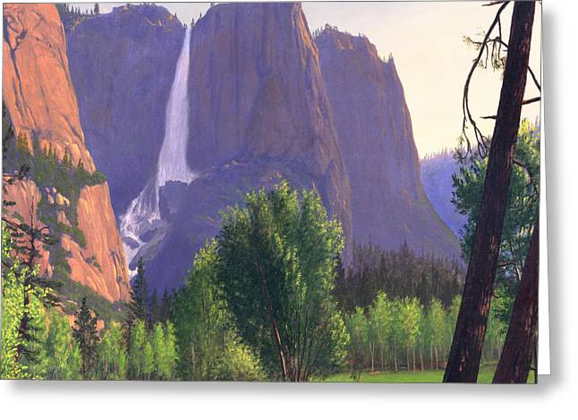 Park Scene Paintings Greeting Cards - Mountains Waterfall Stream Western Landscape - Square Format Greeting Card by Walt Curlee