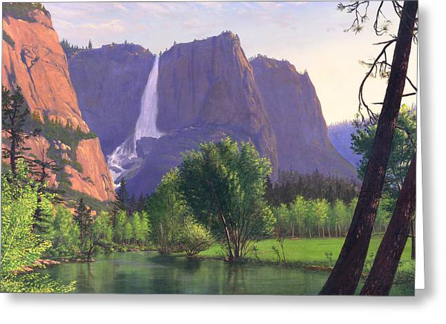 Montana Artist Greeting Cards - Mountains Waterfall Stream western mountain landscape oil painting Greeting Card by Walt Curlee