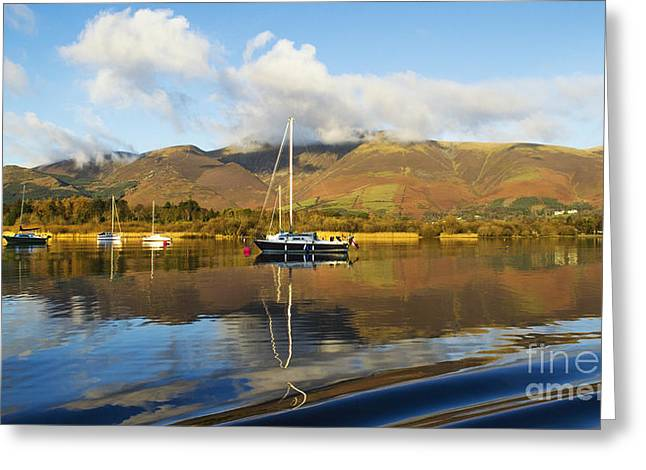Wainwright Greeting Cards - Mountainscape of Skiddaw Cumbria Greeting Card by Linsey Williams