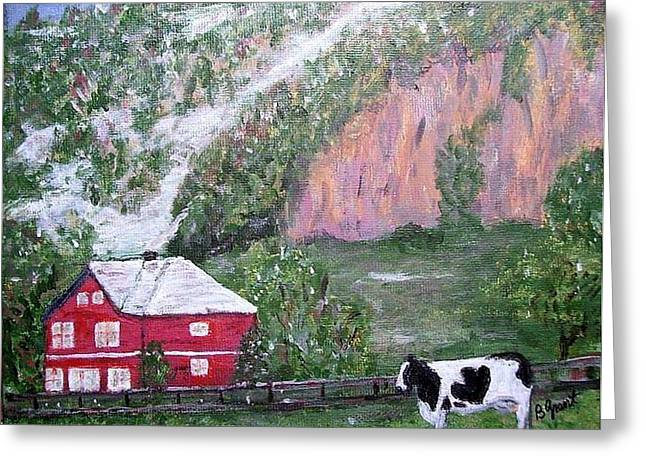 """""""snow Tree Prints"""" Greeting Cards - Mountainside Farm Greeting Card by Bert Grant"""