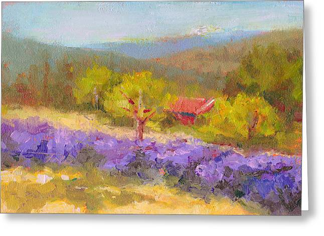 Meditative Greeting Cards - Mountainside Lavender   Greeting Card by Talya Johnson
