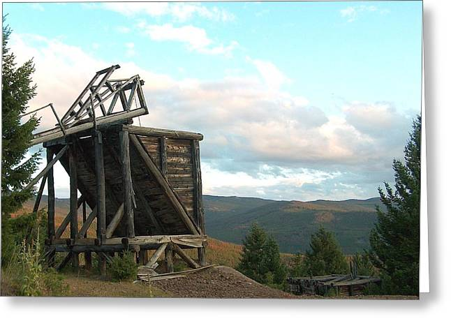Land Reclamation Greeting Cards - Mountaintop Ore Bin Greeting Card by Mark Eisenbeil