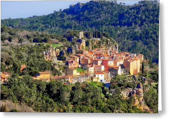 Mountaintop Greeting Cards - Mountaintop Village in France Greeting Card by Mountain Dreams