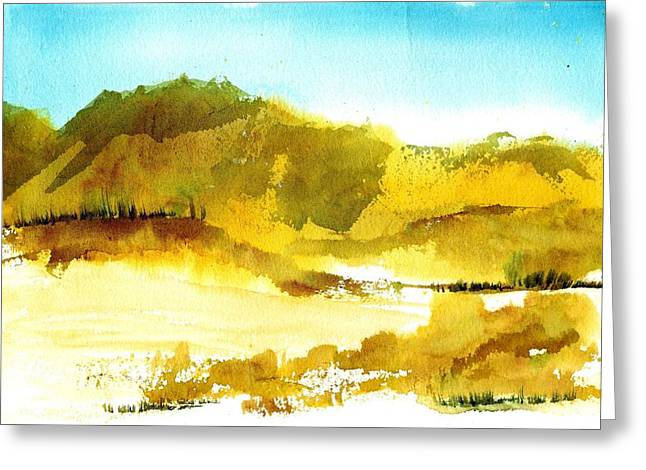Sand Dunes Paintings Greeting Cards - Mountan Desert Greeting Card by Anne Duke