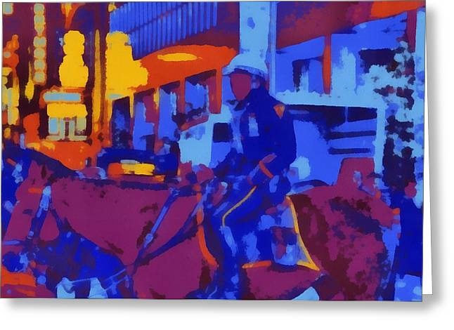 Police Officer Mixed Media Greeting Cards - Mounted NYPD Pop Art Greeting Card by Dan Sproul