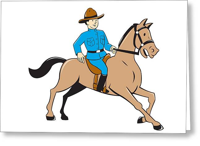 Police Cartoon Greeting Cards - Mounted Police Officer Riding Horse Cartoon Greeting Card by Aloysius Patrimonio
