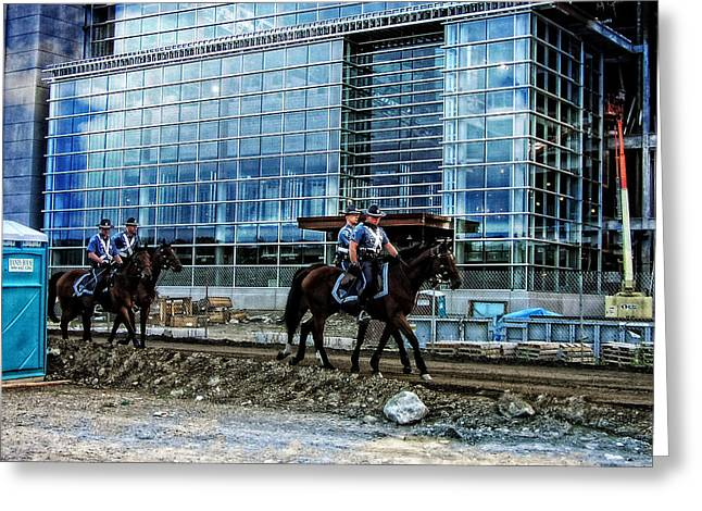 Foxborough Greeting Cards - Mounted Troopers Patrol CMGI Stadium Greeting Card by Mike Martin
