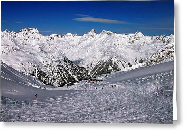Ski Art Greeting Cards - Mountian in Austria  Greeting Card by Colette V Hera  Guggenheim