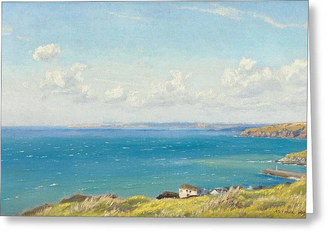 Sea View Greeting Cards - Mounts Bay c1899 Greeting Card by Arthur Hughes