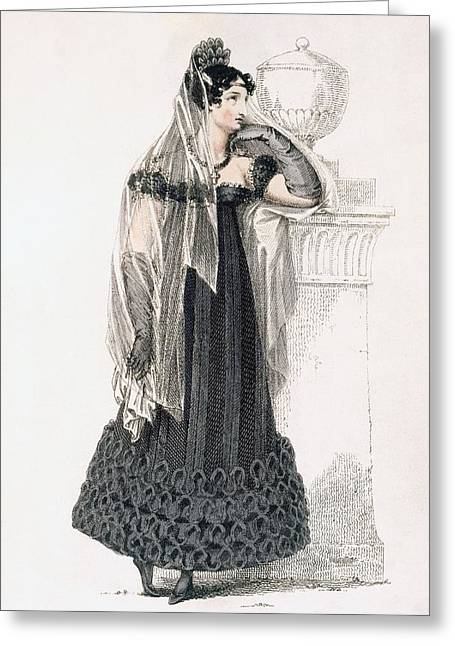 Black Veil Greeting Cards - Mourning Dress, Fashion Plate Greeting Card by English School