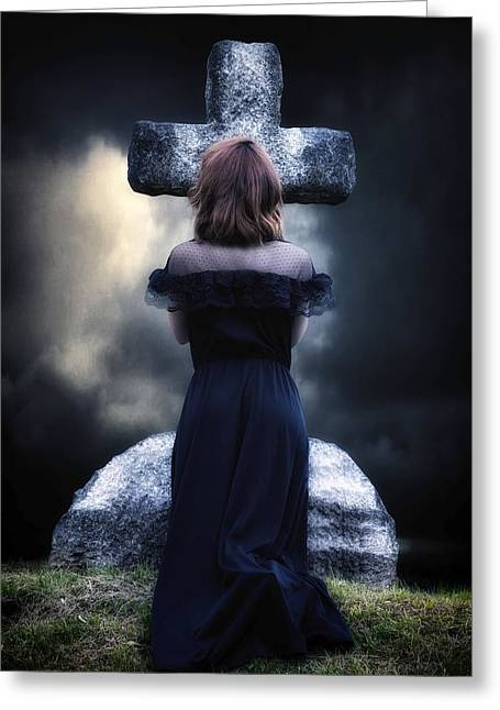 Knelt Photographs Greeting Cards - Mourning Greeting Card by Joana Kruse