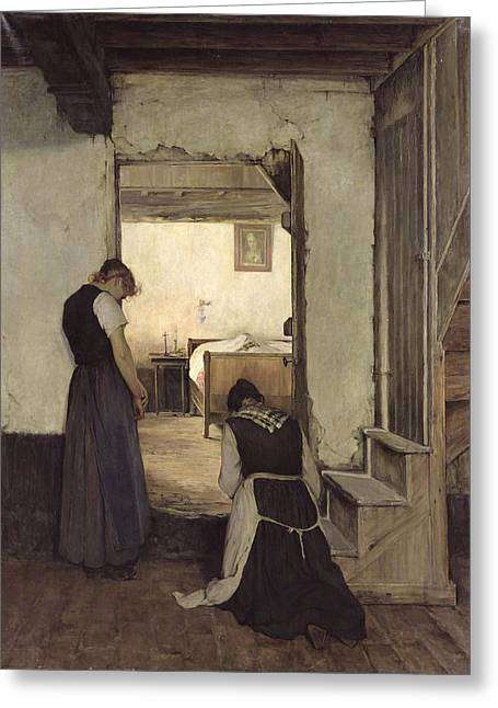 Knelt Photographs Greeting Cards - Mourning Oil On Canvas Greeting Card by Jules Charles Boquet