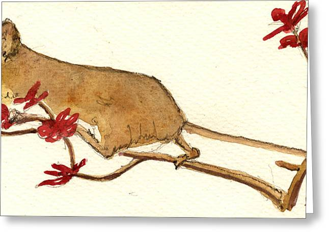 Mouse Greeting Cards - Mouse flowers Greeting Card by Juan  Bosco