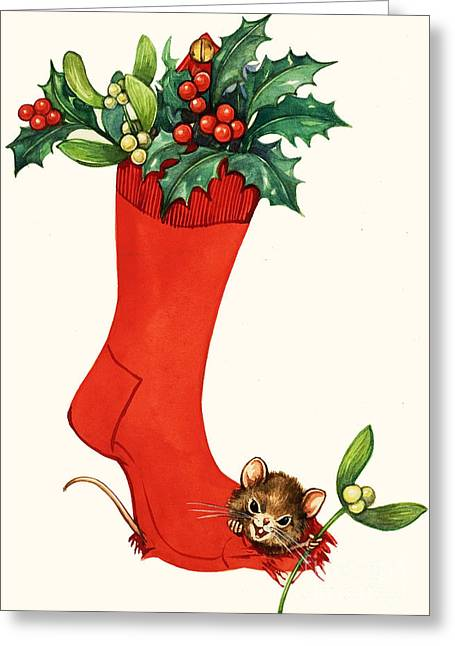 Humorous Greeting Cards Paintings Greeting Cards - Mouse in a Christmas Sock Greeting Card by English School