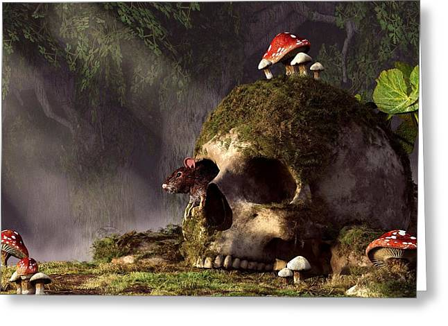 Forest Floor Greeting Cards - Mouse In A Skull Greeting Card by Daniel Eskridge