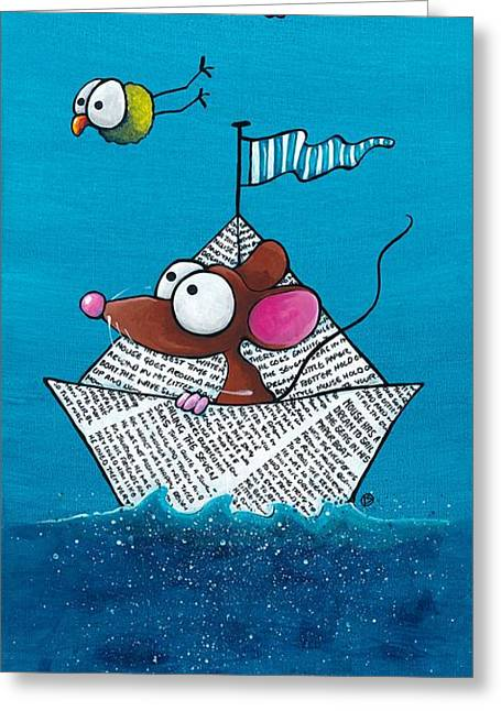 Illustrative Paintings Greeting Cards - Mouse in his paper boat Greeting Card by Lucia Stewart