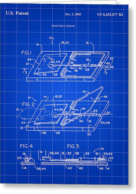 Exterminator Greeting Cards - Mouse Trap Patent - Blue Greeting Card by Stephen Younts