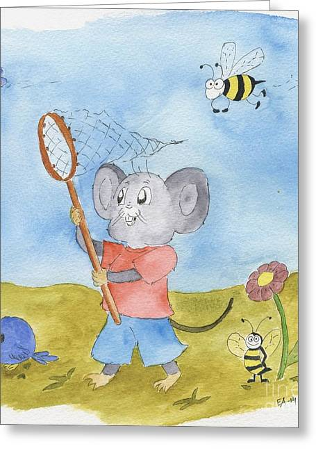 Mouse Drawings Greeting Cards - Mouse with Friends Greeting Card by Eva Ason