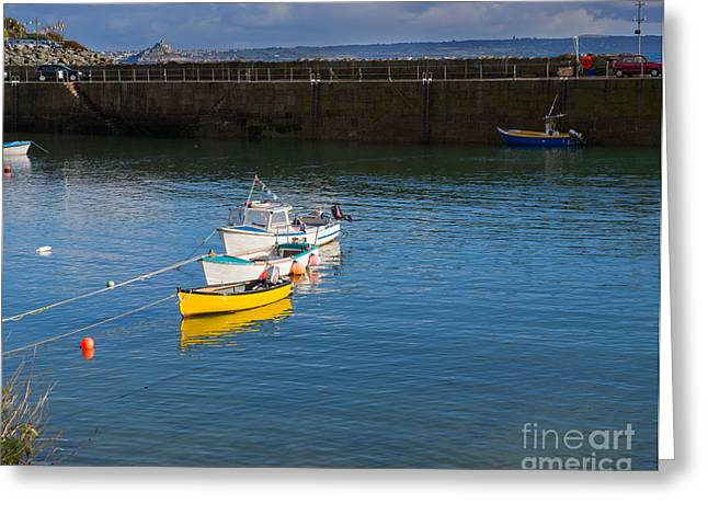 Boats In Harbor Greeting Cards - Mousehole Cornwall Greeting Card by Louise Heusinkveld