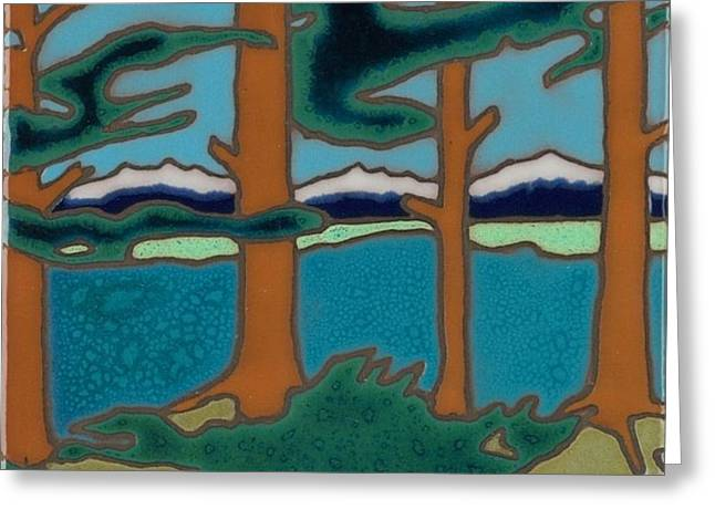 I Ceramics Greeting Cards - Moutain Lake scene Greeting Card by Elany  Prusa