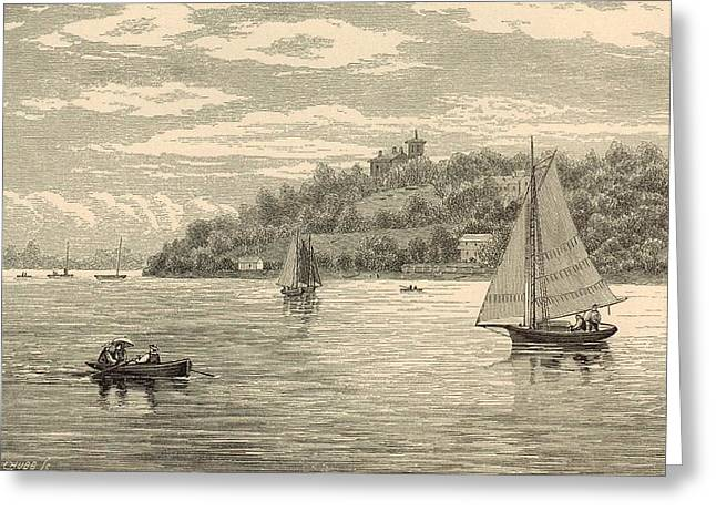 Canoe Drawings Greeting Cards - Mouth of the Shrewsbury River 1872 Engraving Greeting Card by Antique Engravings