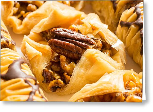 Layers Greeting Cards - Mouthwatering Baklava dessert Greeting Card by Edward Fielding