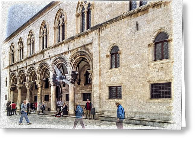 Town Square Greeting Cards - Movement in Dubrovnik Greeting Card by Maria Coulson
