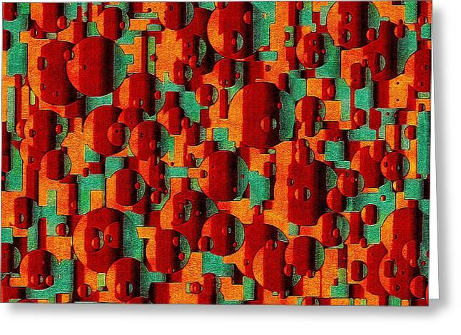 Geometrical Art Greeting Cards - Movement of Symphonic Warmth Greeting Card by Susan Maxwell Schmidt