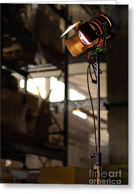 Behind The Scenes Photographs Greeting Cards - Movie Light Greeting Card by Micah May
