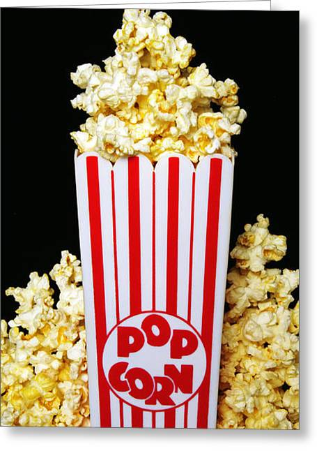 Popcorn Greeting Cards - Movie Night Pop Corn Greeting Card by Andee Design
