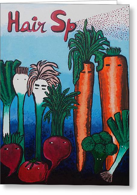 Broccoli Paintings Greeting Cards - Movie Poster in the Edible World II Greeting Card by Sushobha Jenner