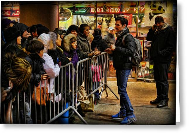 Autograph Greeting Cards - Movie Stars - The Artist Signing Autographs Greeting Card by Lee Dos Santos