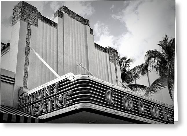 Overhang Greeting Cards - Movie Theater In Black And White Greeting Card by Rudy Umans