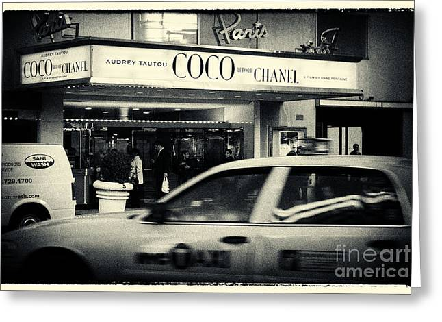 Filmnoir Greeting Cards - Movie Theatre Paris in New York City Greeting Card by Sabine Jacobs