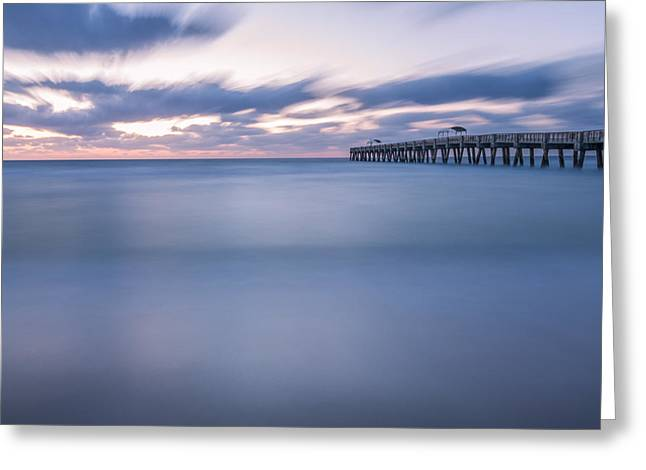 Acrylic Greeting Cards - Moving Along the Pier Greeting Card by Jon Glaser