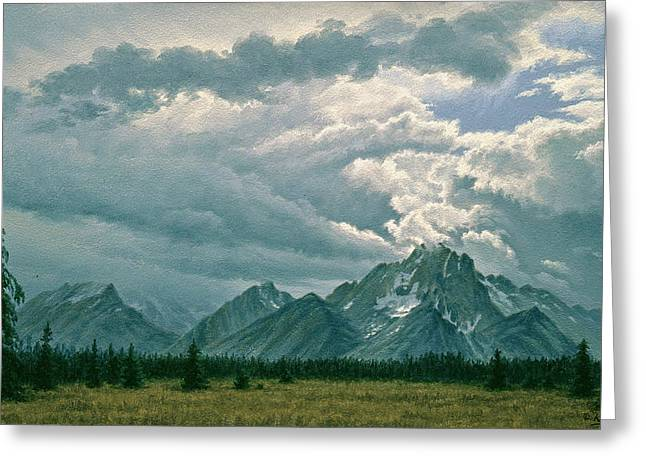 Grand Teton Greeting Cards - Moving Clouds-Mount Moran Greeting Card by Paul Krapf