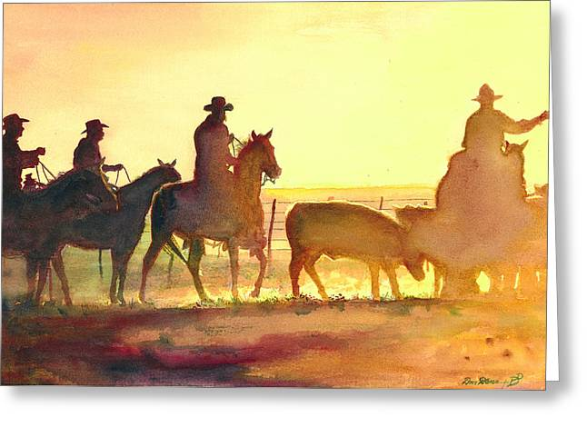 Watercolor Print Greeting Cards - Moving Cows Greeting Card by Don Dane