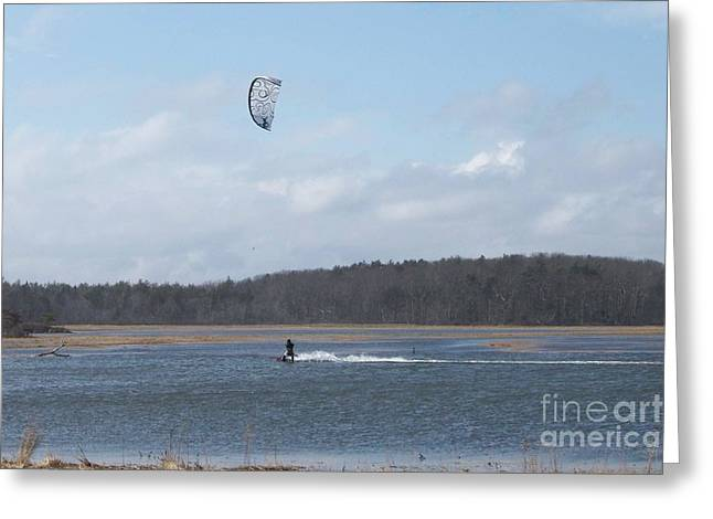 Kite Boarding Greeting Cards - MOVING Along The Water With A Kite Greeting Card by Eunice Miller
